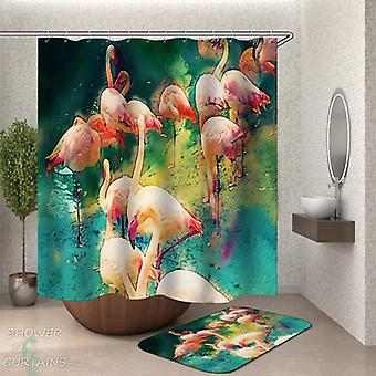 Psychedelic Colored Flamingos Shower Curtain