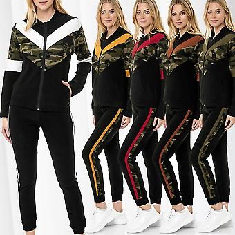 Women's Jogging Suit Set Camouflage Print Casual Two Piece Pullover Shirt Pants