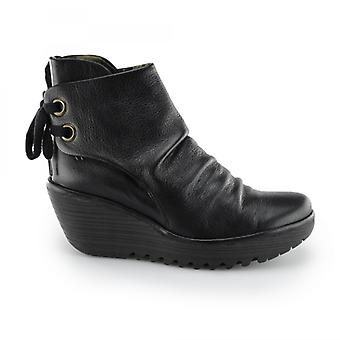 Fly London Yama Ladies Leather Lace Up Wedge Ankle Boots Black