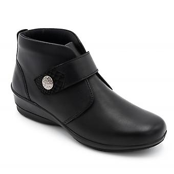 Padders Elena Ladies Leather Wide (e/2e) Ankle Boots Black