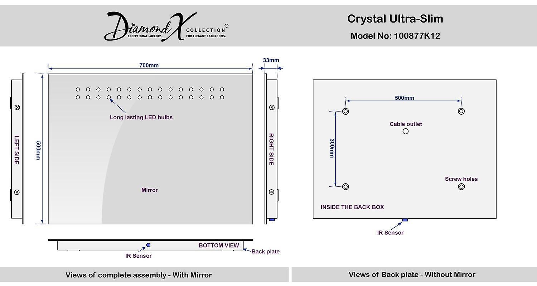 Crystal ultra-plat LED salle de bain miroir avec désembuage & capteur k12