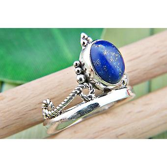Lapis Lazuli Ring 925 Silver Sterling Silver Silver Women's Ring Blue (IRM 89-06)