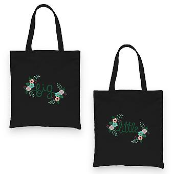 Big Little Floral BFF Matching Canvas Bags Black Colorful Cute Gift