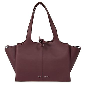 Celine Tri-Fold Shoulder Bag Bordeaux Grained Calfskin Leather
