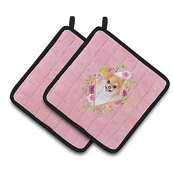 Carolines Treasures CK4169PTHD Pomeranian #1 Pink Flowers Pair of Pot Holders