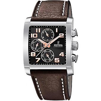 Festina CHRONO F20424-7 watch - klocka stål svart armband läder brun man