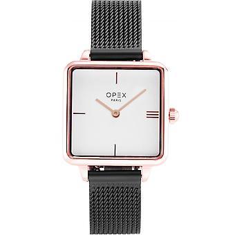 Opex OPW047 Watch - SQUARE Black Steel Bracelet Bo tier Steel Dor Pink Women