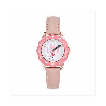 Watch Lulu Castagnette 38864 - P tale Bo tier Steel Dor Steel pink Leather Bracelet Pink Blackhead White Junior