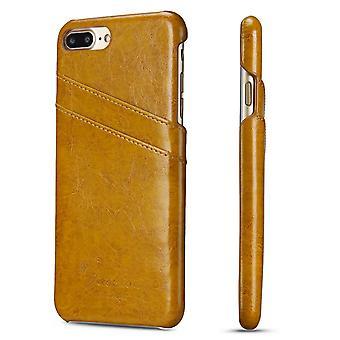 Til iPhone 8 PLUS, 7 PLUS sag, elegant luksus læder beskyttende dækning, gul