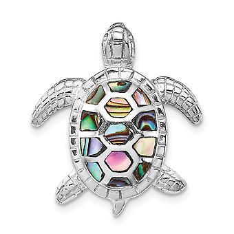 925 Sterling Silver Rhodium plaqué Abalone Textured Turtle Slide Bijoux Cadeaux pour les femmes