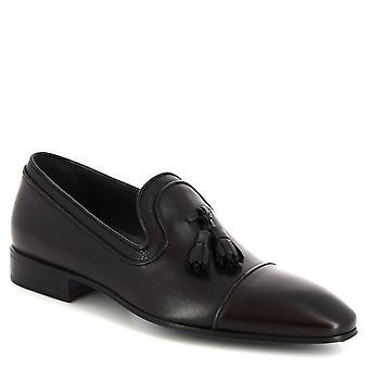 ليوناردو أحذية الرجال & s المصنوعة يدويا أنيق شرابة المتسكعون في جلد العجل الأسود