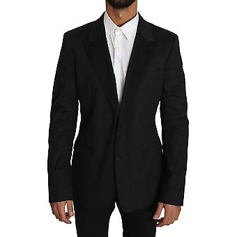 Dolce & Gabbana Black Cotton Stretch Blazer Jacket