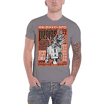 Star Wars T Shirt Droids Rock Poster R2D2 C3PO new Official Mens Grey