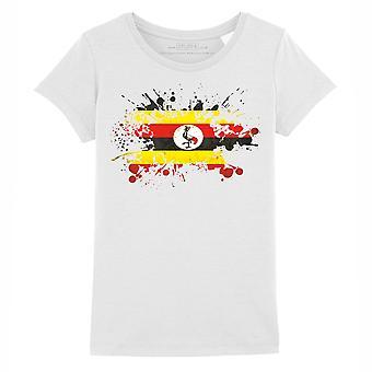 STUFF4 Girl's Round Neck T-Shirt/Uganda Flag Splat/White