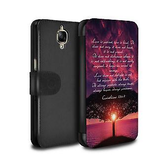 STUFF4 PU Leather Wallet Flip Case/Cover for OnePlus 3/3T/Love Is Patient/Corinthians/Christian Bible Verse