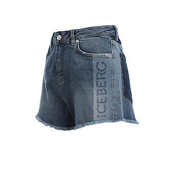 Iceberg D10160056001 Women's Blue Cotton Shorts