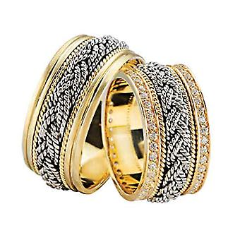 Wedding rings with braided tors rings