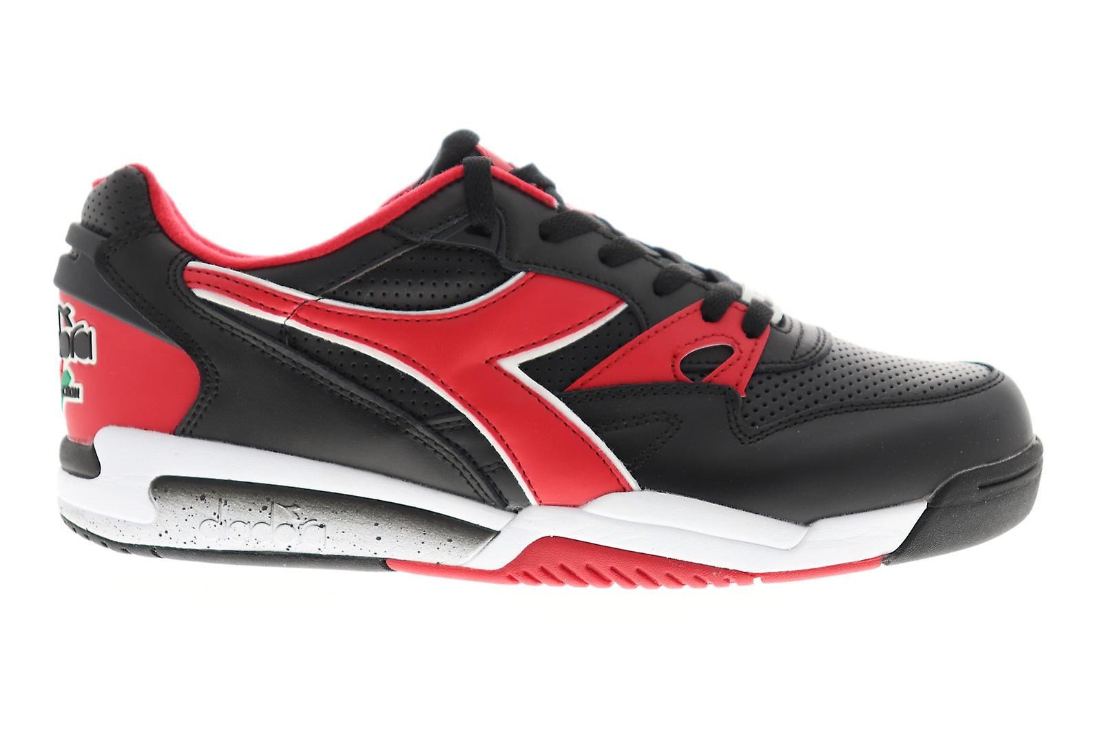 Diadora Rebound Ace Uomo Nero Pelle Bassa Top Sneakers Scarpe tFVhxt