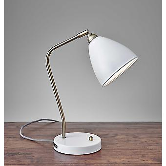 "6.25"" X 11-12.75"" X 16-21"" White Metal Desk Lamp"