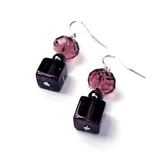 Peace of Mind Purple Faceted Glass Bead Drop Earrings