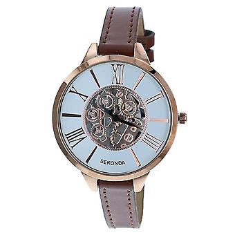 Sekonda 2315.28 Ladies White Dial Roman Numerals Rosegold Tone Casing Brown Pu Buckle Strap Watch