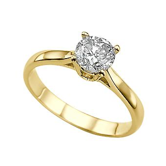 1.5 Carat F SI2 Diamond Engagement Ring 14K Yellow Gold Solitaire Classic Cathedral