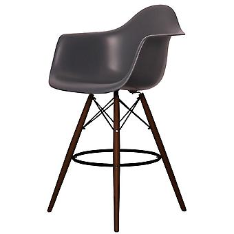 Charles Eames Style Dark Grey Plastic Bar Stool With Arms - Walnut Legs
