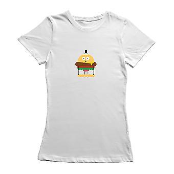 Funny Cartoon Burger Pants Graphic Women's T-shirt