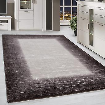 Korte Flor Design Rug Border Gevoerd vintage woonkamer tapijt Brown Gesmolten