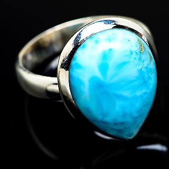 Larimar Ring Size 6.5 (925 Sterling Silver)  - Handmade Boho Vintage Jewelry RING7464