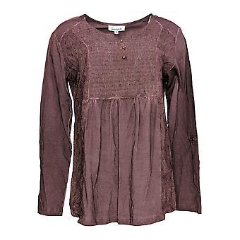 Serengeti Women's Top Long Sleeve Embroidered Detail Dark Purple