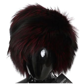 Dolce & Gabbana Maroon Black Silver Fox Fur Winter Hat HAT70204-58