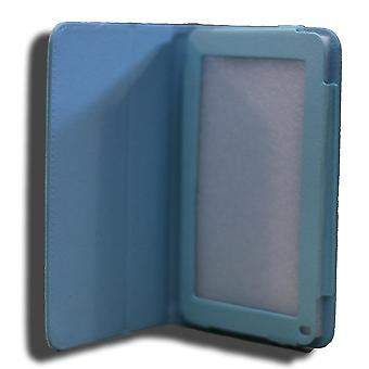 Leadertab7 Folio Case Blue Faux Piele. Camera Hole spate