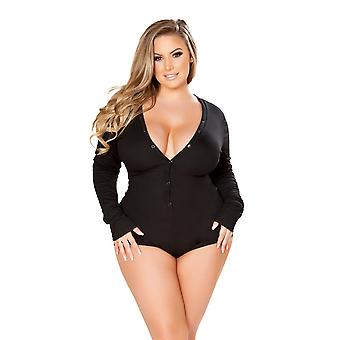 Plus Size Comfy and Cozy Button Up Sweater Teddy Romper Sleepwear
