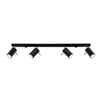 Ring Ceiling Lamp Black Steel 4 Ampoules