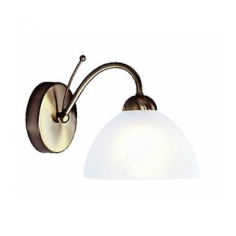 Milanese Wall Lamp, In Antique Brass And Alabaster Glass