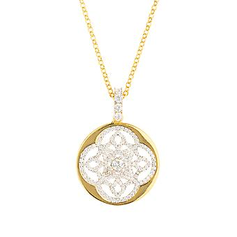 Yellow White Celtic Knot Clover Disc CZ Bridal Jewellery Gold Necklace Pendant