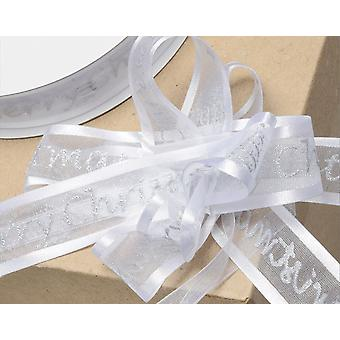 15m White 23mm Merry Christmas Organza Pull Bow Ribbon Roll for Gift Wrap Crafts