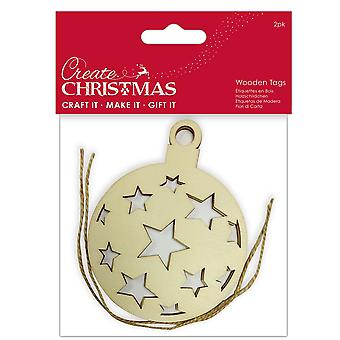 LAST FEW - 2 Flat Wooden Christmas Bauble Shapes to Decorate