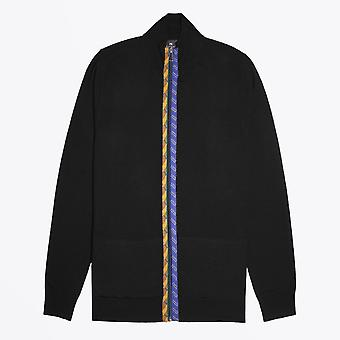 PS Paul Smith  - Merino Wool Zip Cardigan With 'Rope' Trims - Black