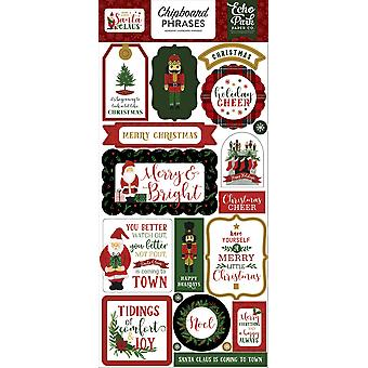 Echo Park Here Comes Santa Claus 6x13 Inch Chipboard Phrases