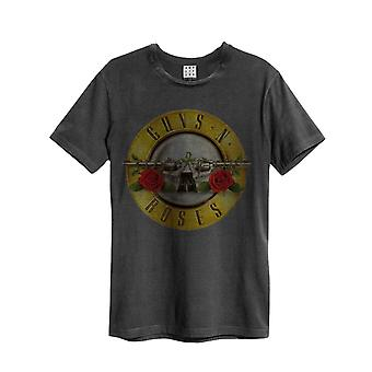 Guns N Roses T Shirt Drum Band Logo new Official Mens Amplified Vintage Charcoal