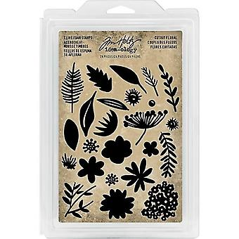 Advantus Tim Holtz Cling Foam Stamps Cutout Floral (24szt)(TH93703)