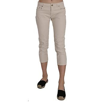 Beige Cotton Stretch Low Waist Skinny Cropped Capri Jeans -- PAN7365680