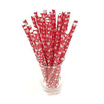 25PCS Disposable Striped Paper Straws Christmas Snowflake