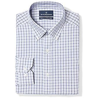Abotoado men's fit fit fit botão-collar padrão não-ferro camisa de vestido, ...