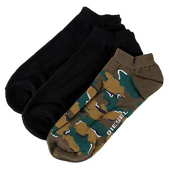 Diesel SKM Gost Camo 3 Pack Trainer Socks - Black/Grey