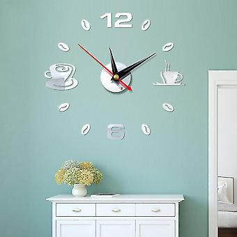 Self Adhesive Kitchen 3d Analog Home Waterproof Wall Clock Art - Diy Mute
