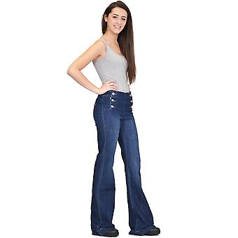 70s Style Flares Wide Flared Mid-Rise Stretch Jeans