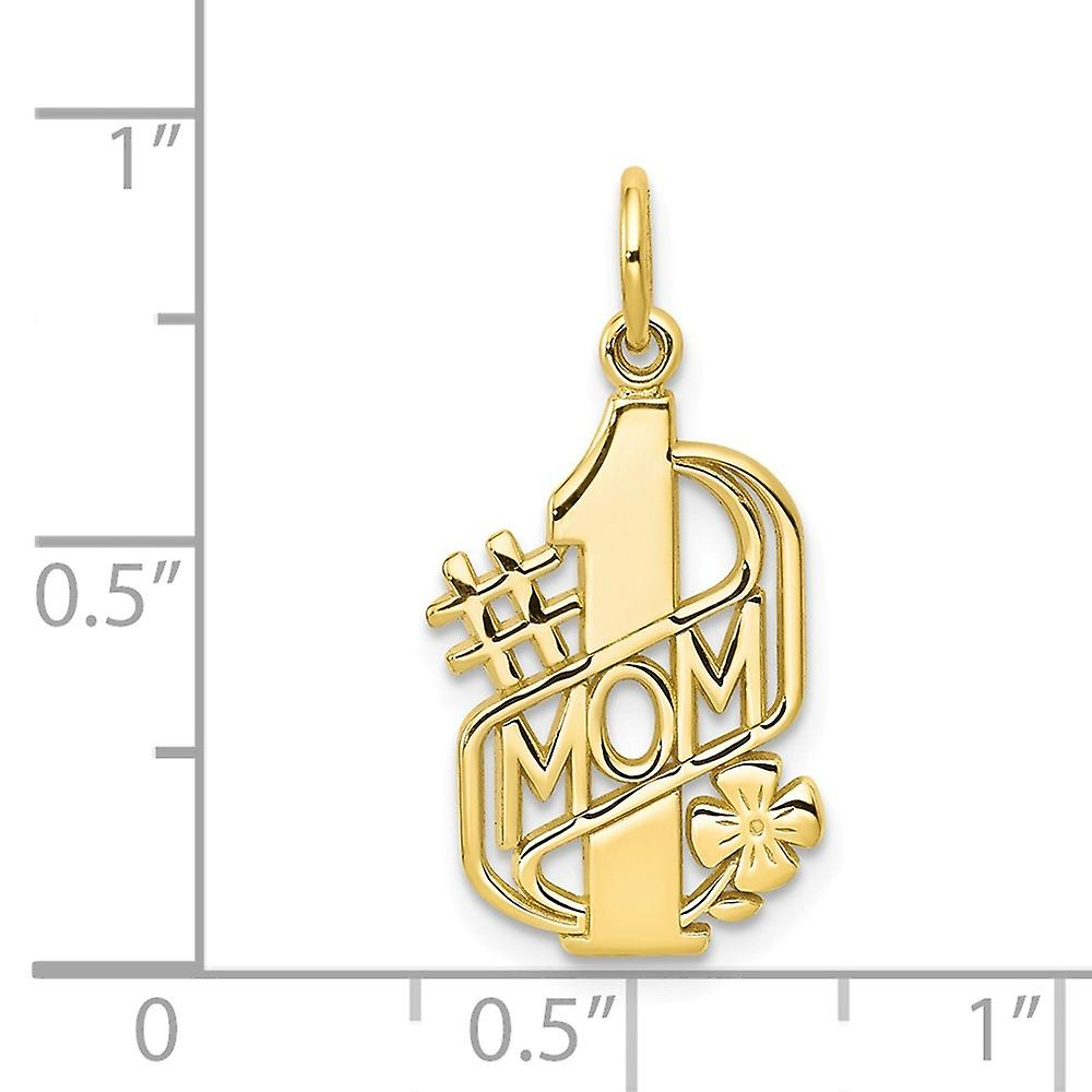 10k Yellow Gold Solid Polished Mom Charm Pendant Necklace Jewelry Gifts for Women - 1.1 Grams